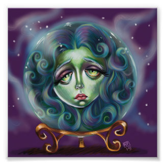 Woman in Crystal Ball Pop Surrealism Illustration Photo Print