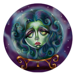 Woman in Crystal Ball Pop Surrealism Note Card
