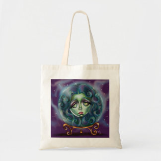 Woman in Crystal Ball Pop Surrealism Small tote Budget Tote Bag