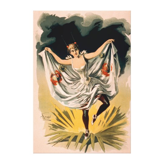 Woman in Dance Costume on Flower Poster Canvas Print