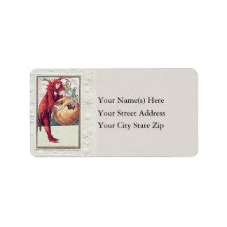 Woman In Devil Costume Vintage Address Label