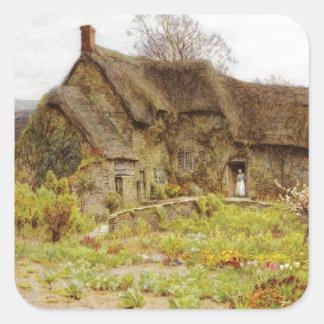 Woman In Dorset Cottage Doorway Square Sticker