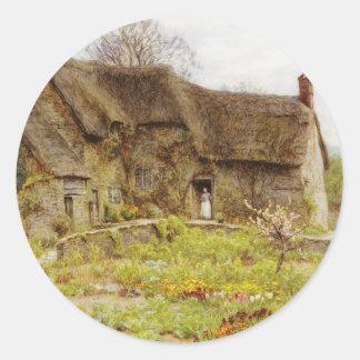 Woman In Dorset Cottage Doorway Classic Round Sticker