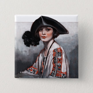 Woman in Embroidered Blouse Button