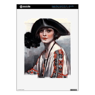 Woman in Embroidered Blouse iPad 3 Skin