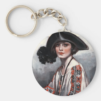 Woman in Embroidered Blouse Keychain
