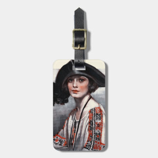 Woman in Embroidered Blouse Bag Tag