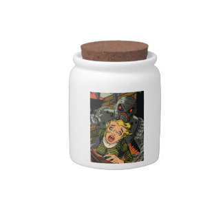Woman in escape candy jars