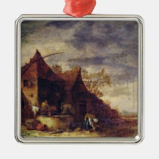 Woman in Front of a Cottage Metal Ornament