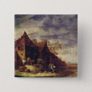 Woman in Front of a Cottage Pinback Button
