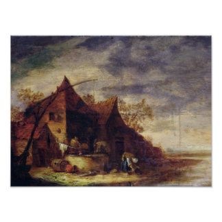 Woman in Front of a Cottage Poster