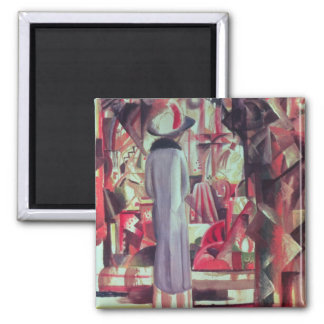 Woman in front of a large illuminated window 2 inch square magnet