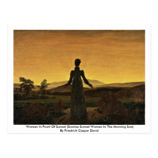 Woman In Front Of Sunset Post Cards
