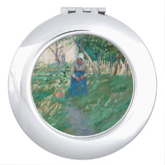 Woman in Garden with Basket Compact Mirror