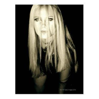 Woman in gothic fashion postcard