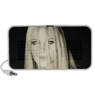 Woman in gothic fashion travelling speaker