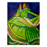 Woman in Green Dress Poster