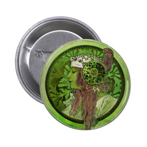 Woman in Green - LAUREL Pinback Button