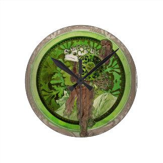 Woman in Green - LAUREL Round Clock