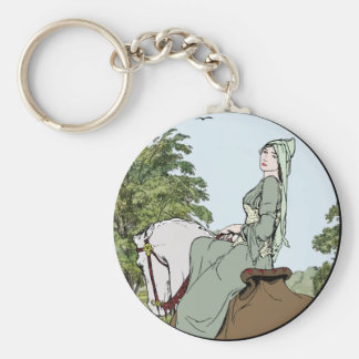 Woman in Green on a Horse Keychain