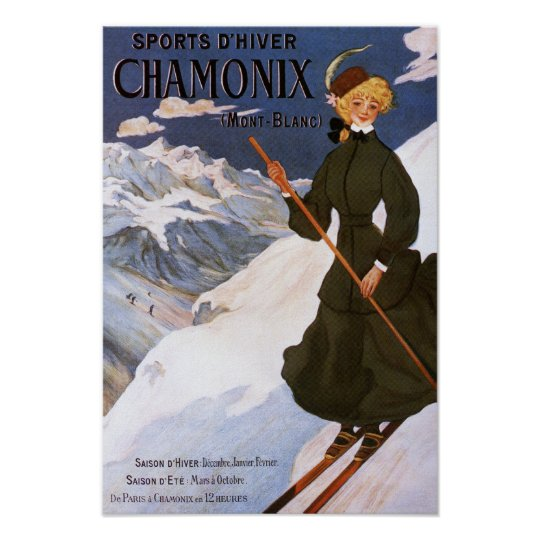 Woman in Green Skiing Poster