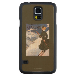 Woman in Green Skiing Poster Carved® Maple Galaxy S5 Case