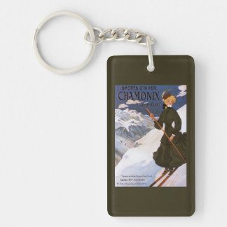 Woman in Green Skiing Poster Keychain