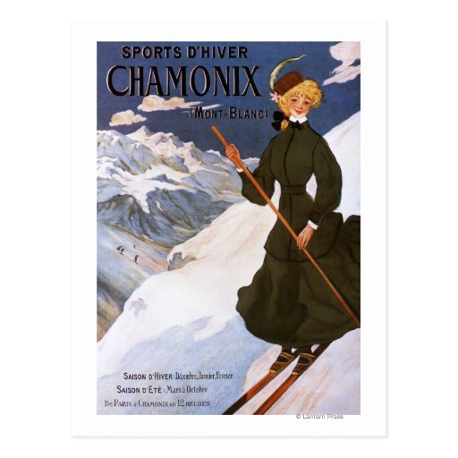 Woman in Green Skiing Poster Post Cards