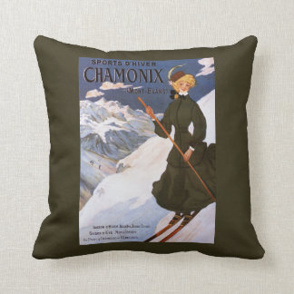 Woman in Green Skiing Poster Throw Pillow
