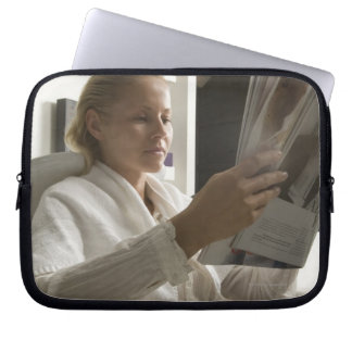 Woman in hairdressing salon computer sleeve