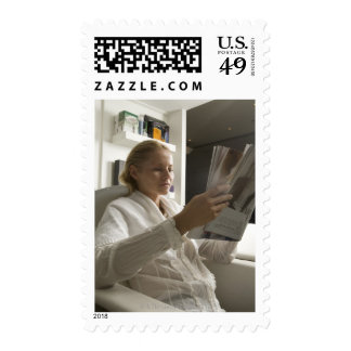 Woman in hairdressing salon stamps