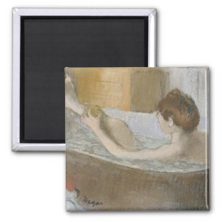 Woman in her Bath, Sponging her Leg, c.1883 2 Inch Square Magnet
