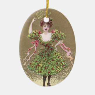 Woman in Holly Dress with Mistletoe Christmas Ceramic Ornament