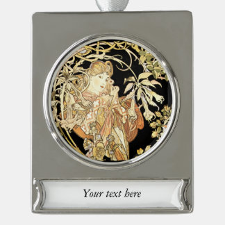Woman in Jasmine Vines Silver Plated Banner Ornament