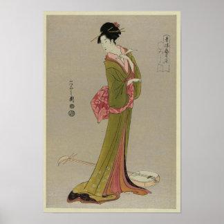 Woman In Kimono Japanese Vintage Art Poster