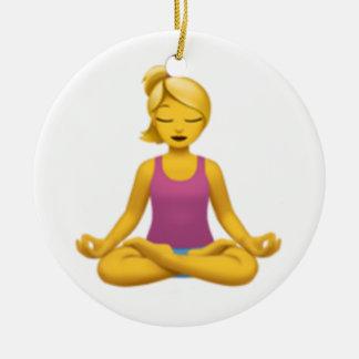Woman in Lotus Position - Emoji Ceramic Ornament