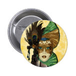 Woman In Masquerade Art Pinback Buttons