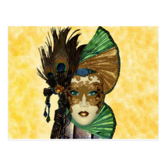 Woman In Masquerade Art Postcard