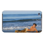 Woman in mermaid costume posing at beach iPod Case-Mate cases