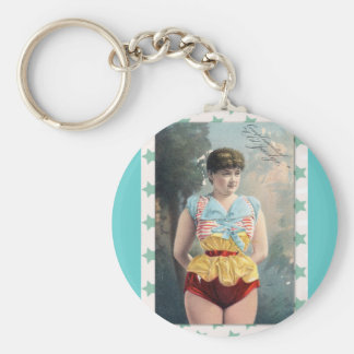 Woman in Old Fashioned Costume Illustration Basic Round Button Keychain