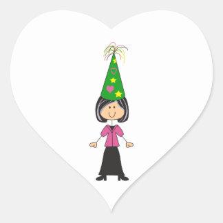 WOMAN IN PARTY HAT HEART STICKER