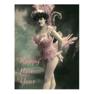 Woman in Pink Bird Costume New Year Postcard