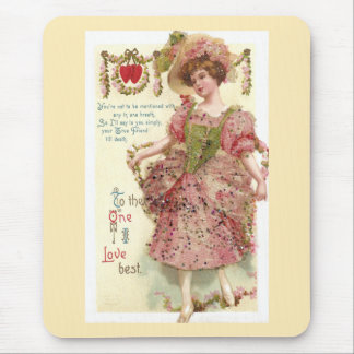 Woman in Pink Glitter Dress Valentine Mouse Pad