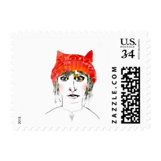 Woman in Pink Hat Postage