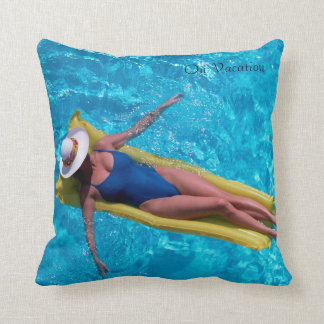 Woman in pool image for Polyester Throw Pillow