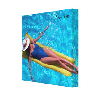 Woman in pool image for wrapped-canvas canvas print