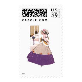 Woman in Purple Dress Valentine Stamps