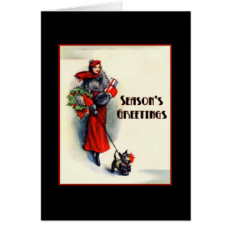 Woman in red coat shopping with Scottish Terrier Greeting Card