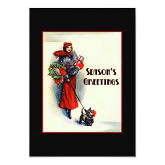 Woman in red coat shopping with Scottish Terrier Card
