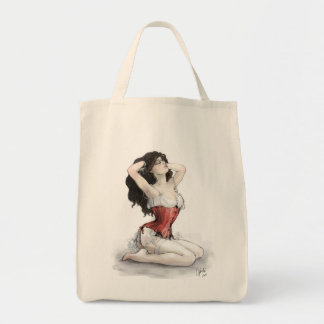 Woman in Red Corset Tote Bag